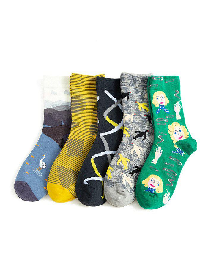 5Pairs Cartoon Animal Pattern Cotton Socks Set - multicolor A