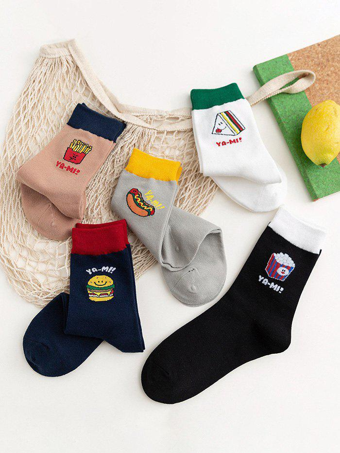 5Pairs Winter Cartoon Food Pattern Sports Socks Set - multicolor A