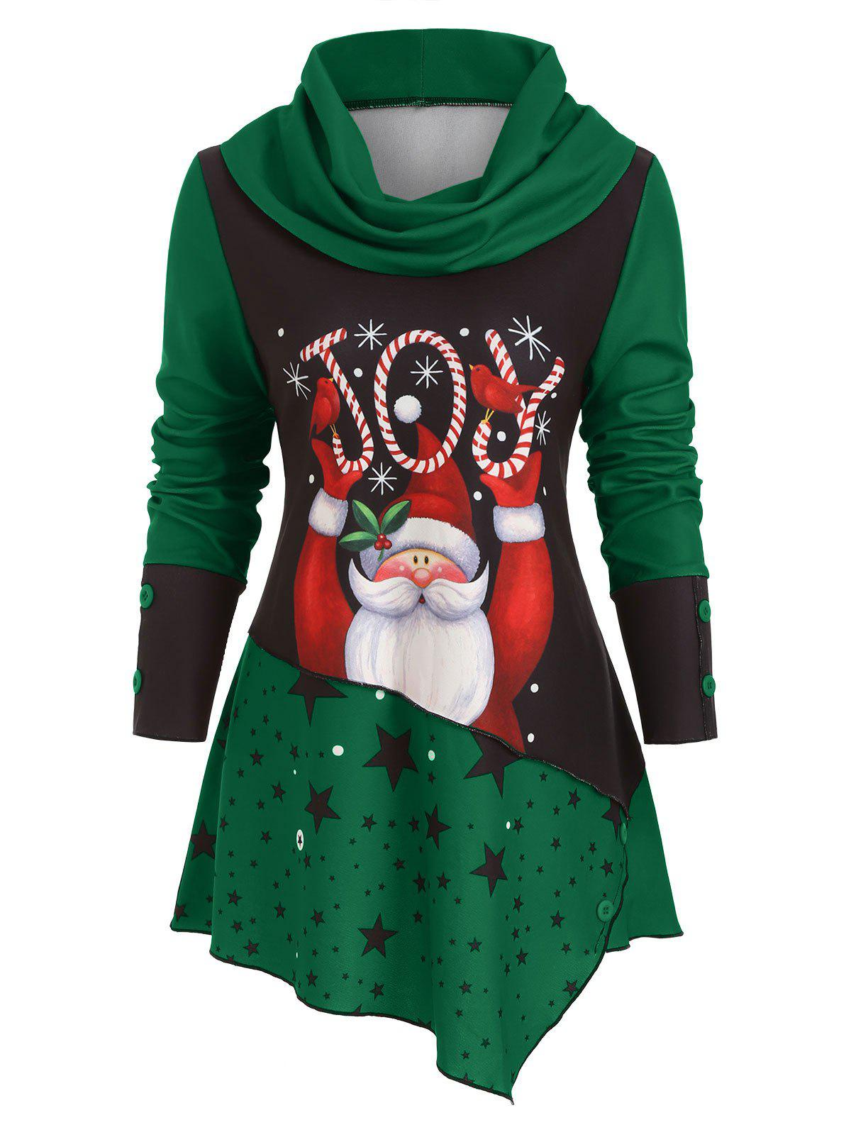 Cowl Neck Santa Claus Asymmetric Christmas Top - GREEN M