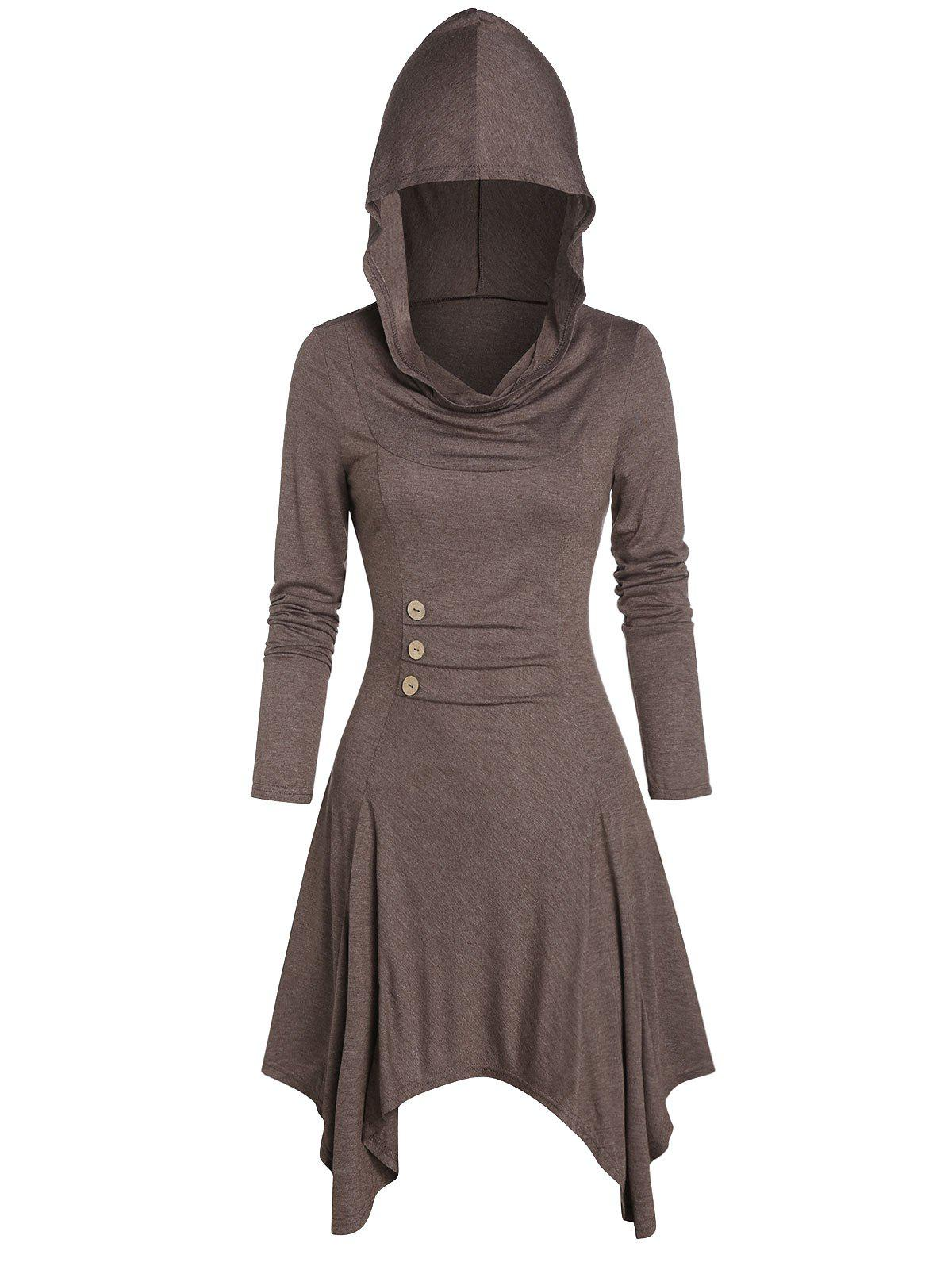 Hooded Button Ruched Handkerchief Dress - COFFEE M