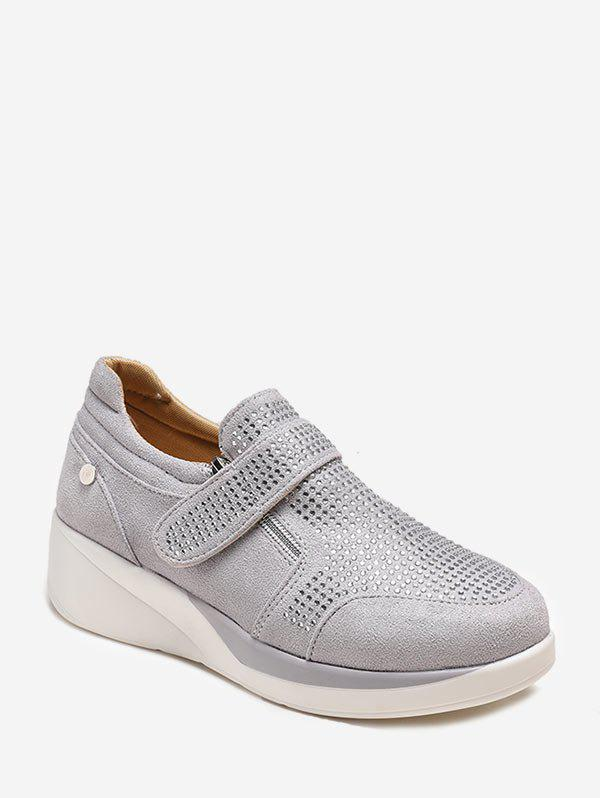 Suede strass Slip On Chaussures - Gris EU 42