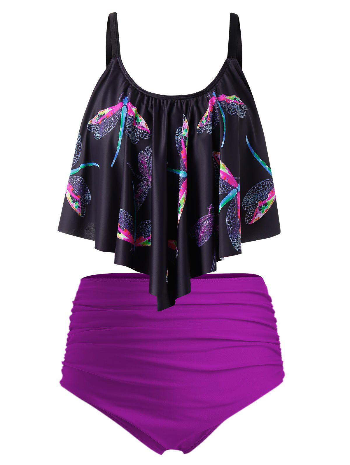 Plus Size Dragonfly Print Ruched Tankini Swimsuit - multicolor 5X
