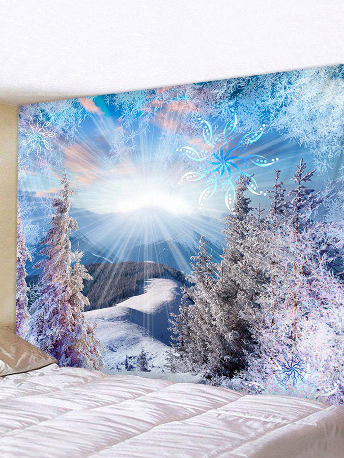 Winter Warm Sun Snow Waterproof Tapestry - multicolor W91 X L71 INCH
