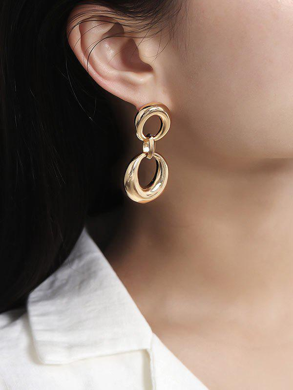 Simple Dual Circle Drop Earrings - GOLD