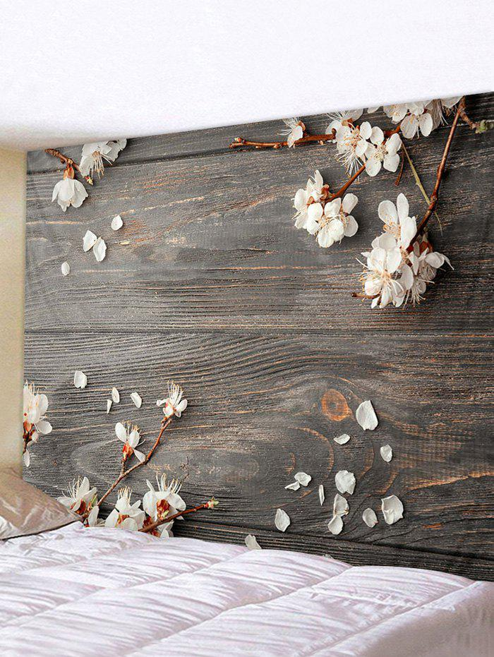 Wood Peach Blossom Print Waterproof Tapestry - multicolor W71 X L71 INCH