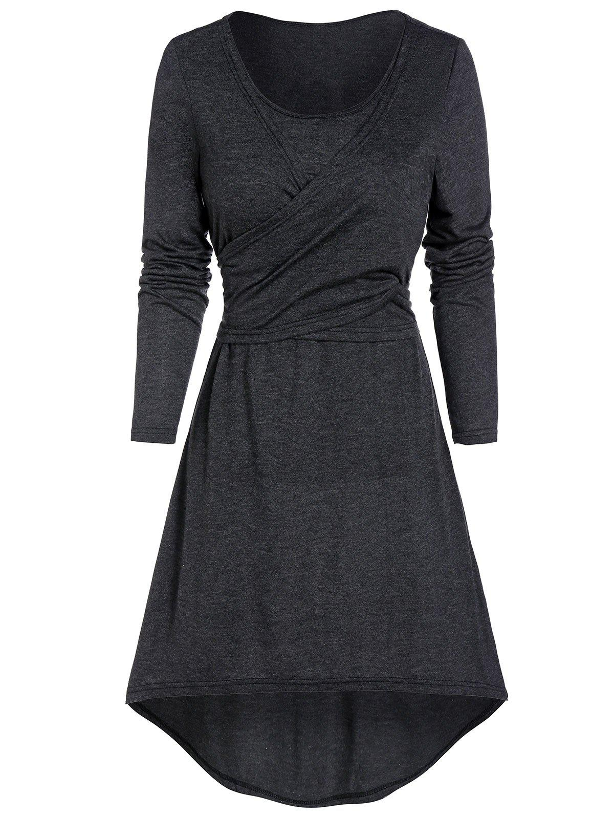 Knotted Wrap Heathered High Low Dress - ASH GRAY M