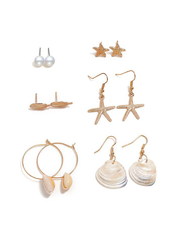 6 Piece Conch Shell Starfish Drop Stud Earrings Set - GOLD