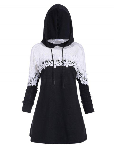 Plus Size Drawstring Contrast Lace Hoodie