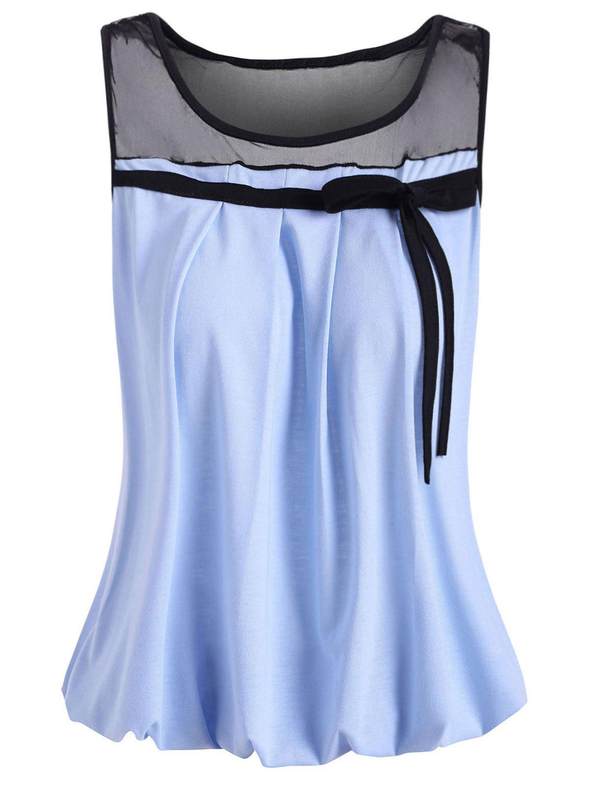 Mesh Panel See Thru Tie Blouson Tank Top - LIGHT SKY BLUE L