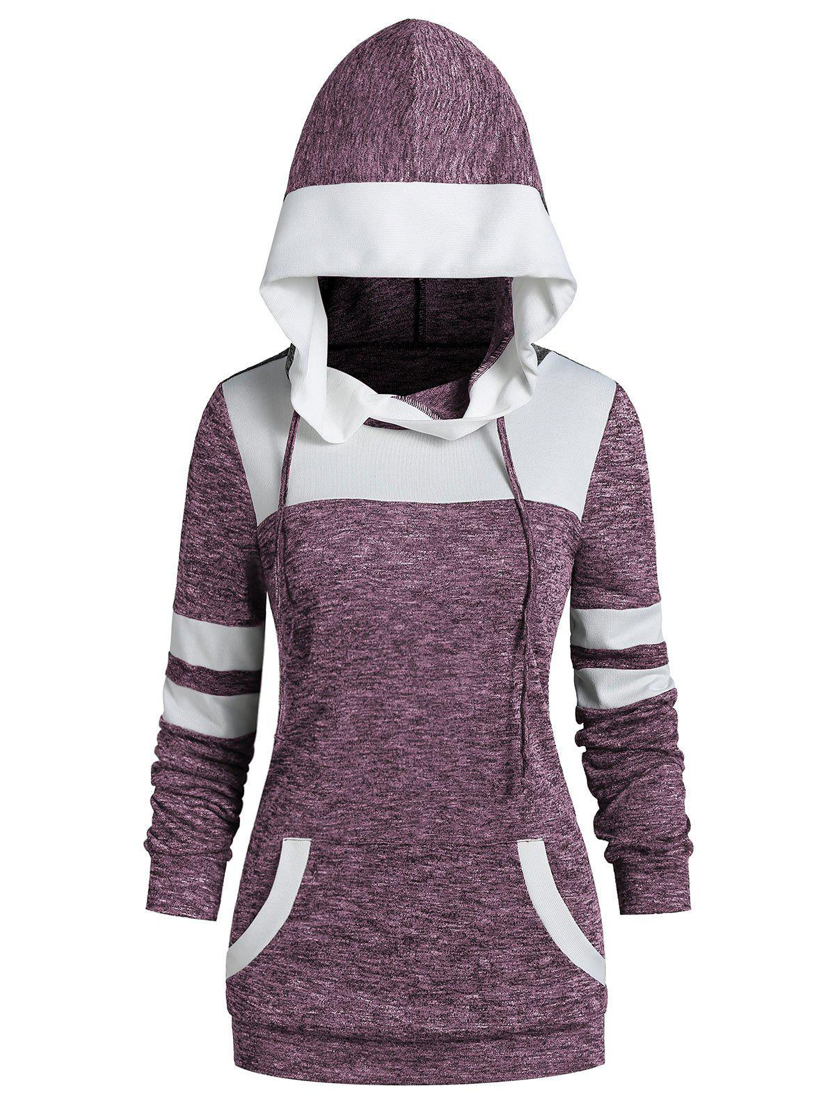 Two Tone Drawstring Heather Hoodie - MEDIUM ORCHID S