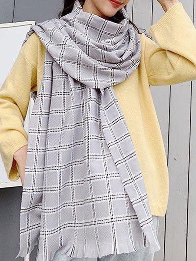 Winter Checkered Pattern Fringed Long Scarf - LIGHT GRAY