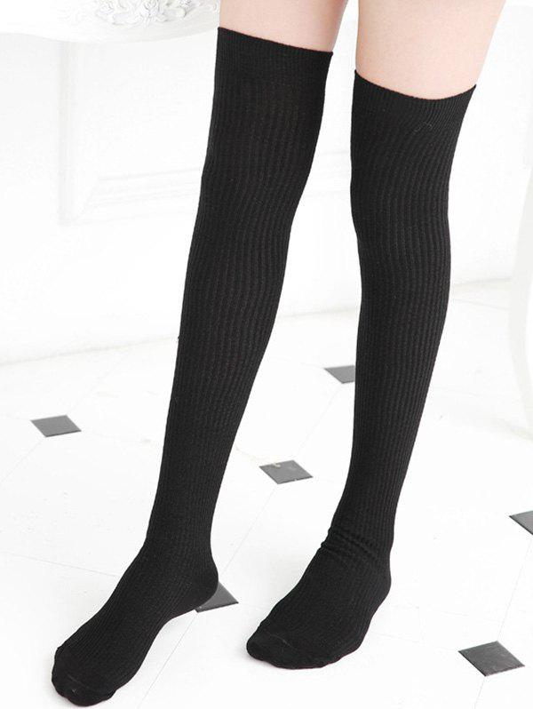 Solid Sports Over The Knee Socks - BLACK