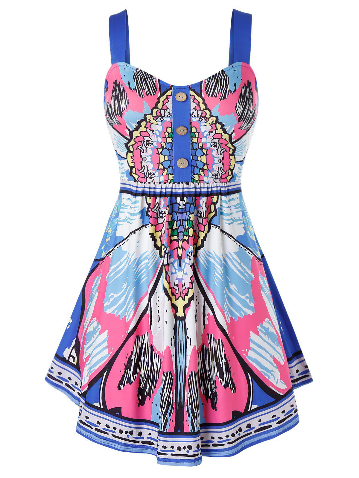 Plus Size Butterfly Print Buttoned Backless Tunic Tank Top - multicolor 3X