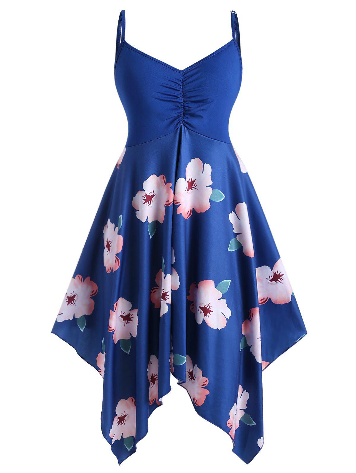 Plus Size Handkerchief Spaghetti Strap Floral Print Dress - OCEAN BLUE 4X
