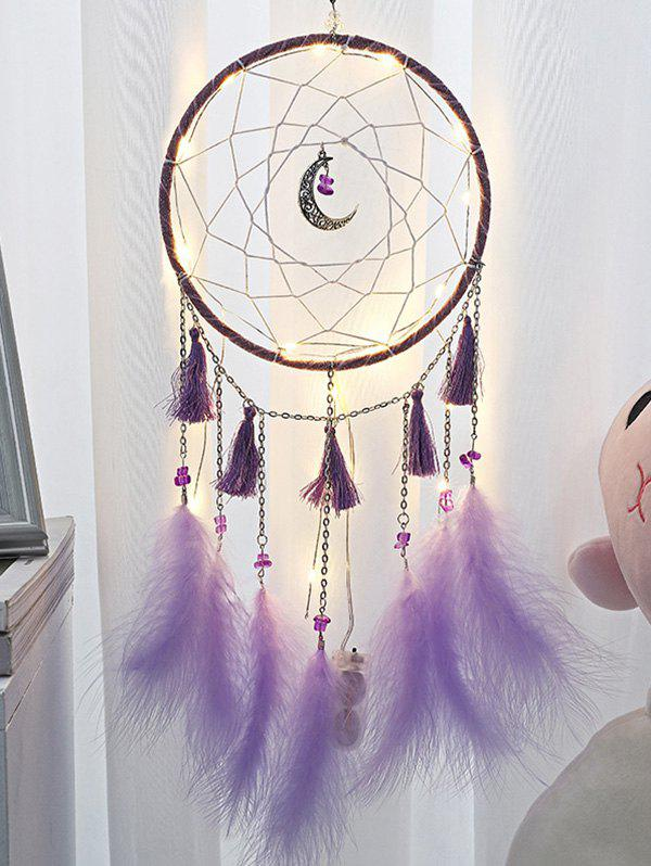 Handmade Crescent Tassel Feather LED Light Dream Catcher - TYRIAN PURPLE