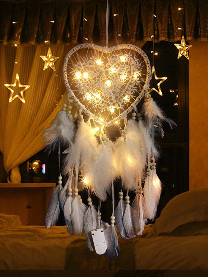 Lace Insert Feather LED Light Heart Dream Catcher - WHITE