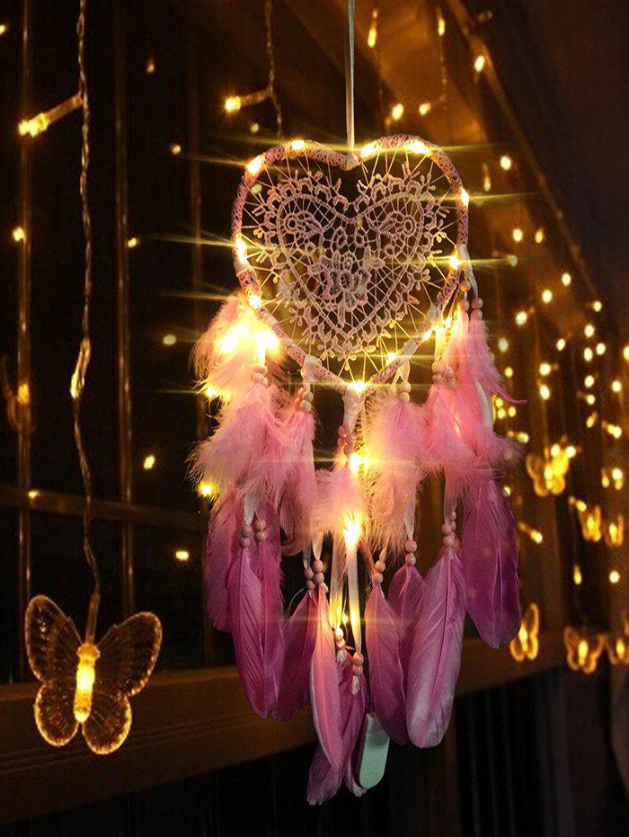 Lace Insert Feather LED Light Heart Dream Catcher - BLUSH RED