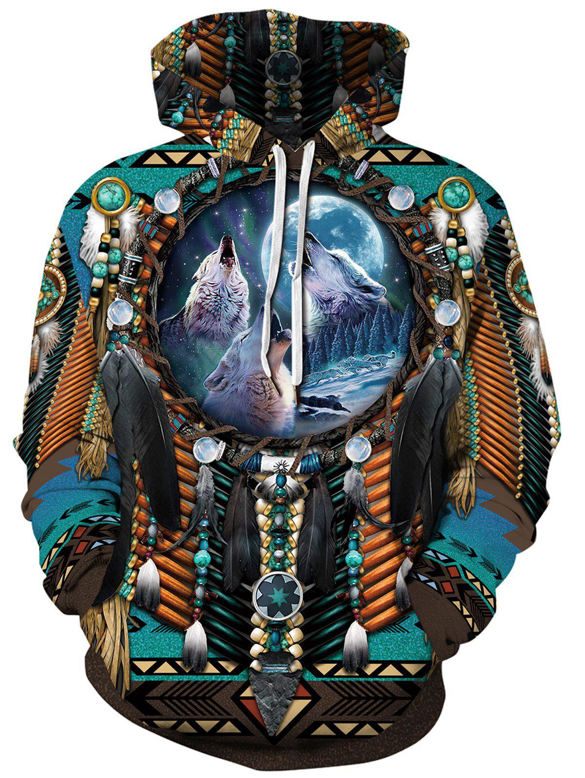 Ethnic Wolf Pattern Pocket Hoodie - multicolor M