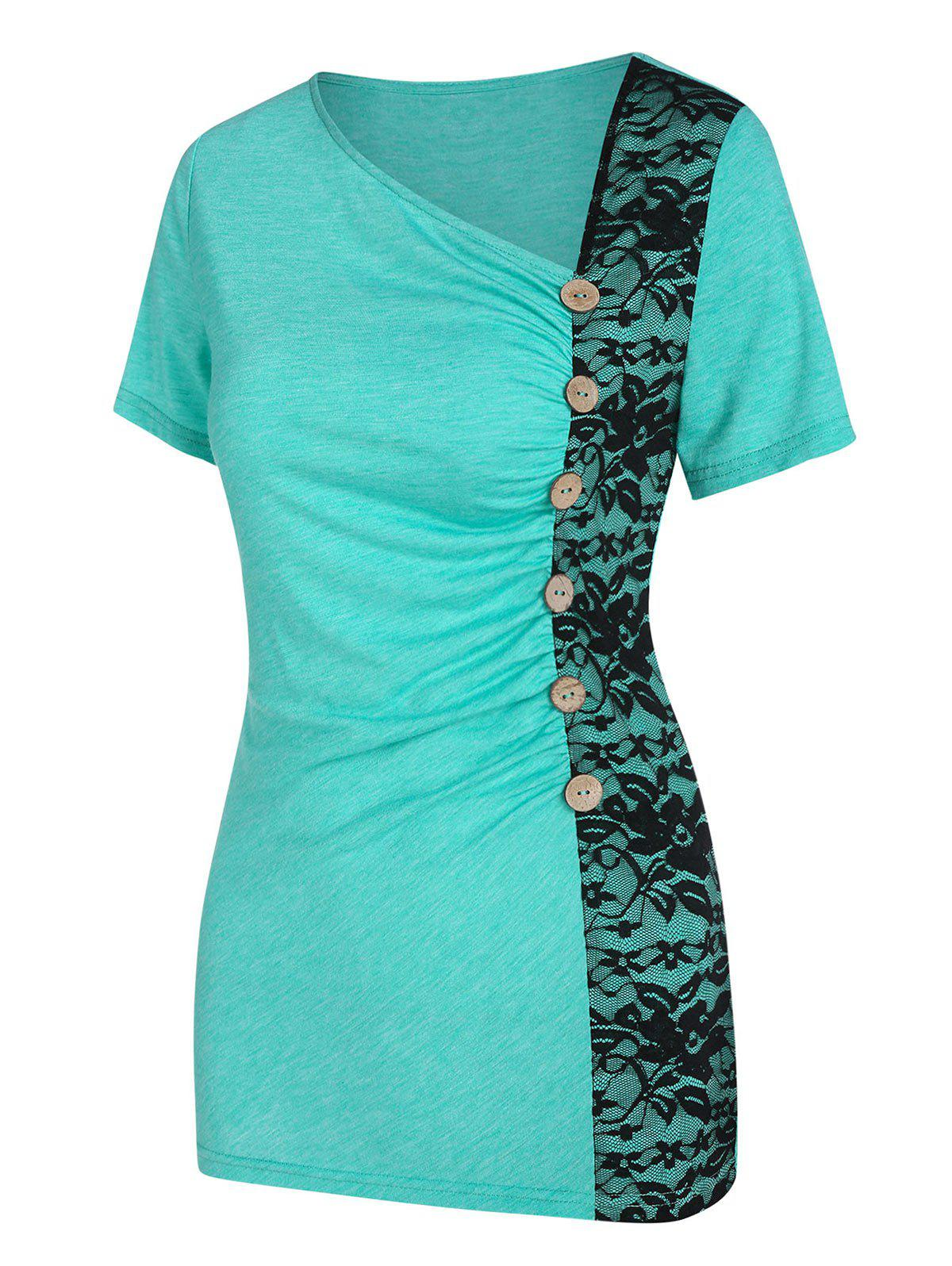 Skew Neck Lace Panel Ruched T Shirt - MEDIUM TURQUOISE M