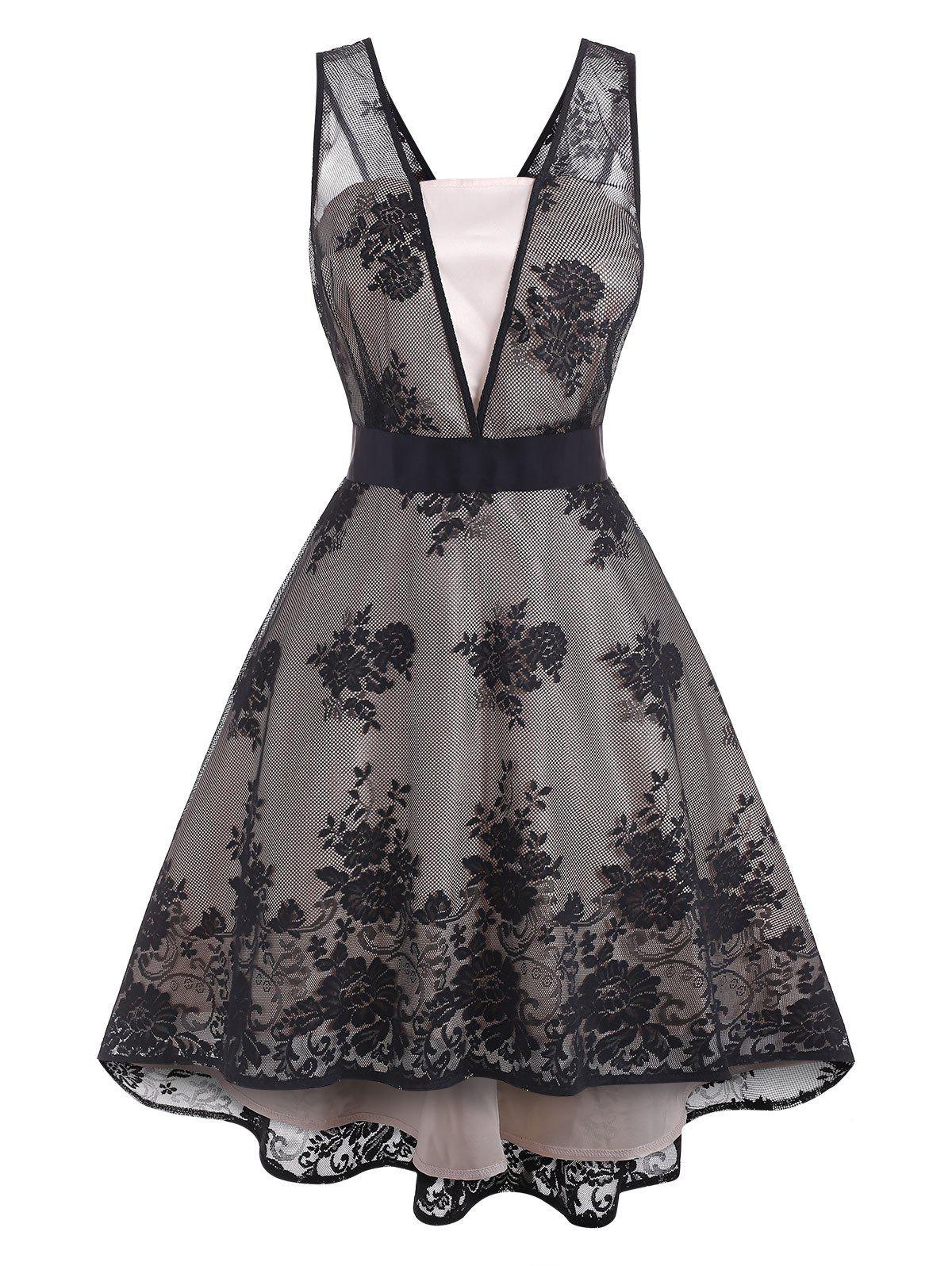 Lace Overlay High Low Plus Size Semi Formal Dress - BLONDE 1X