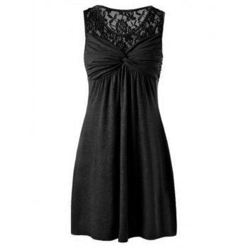 Twist Front Lace Yoke Dress