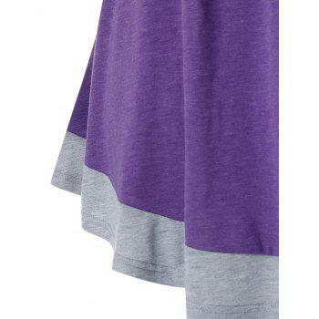 Plus Size Two Tone Mock Button Short Sleeve Ruched Tee