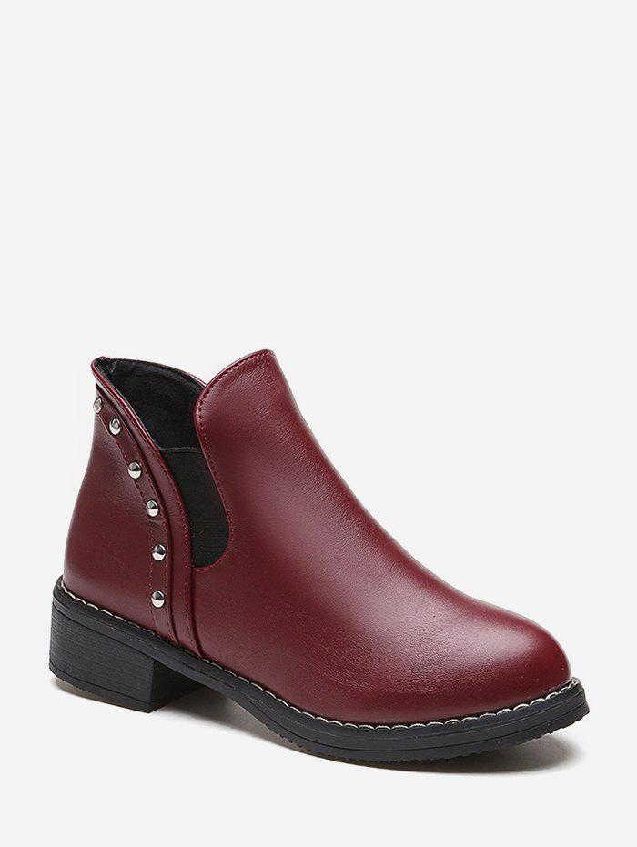 Studded Leather Chelsea Ankle Boots - RED WINE EU 40
