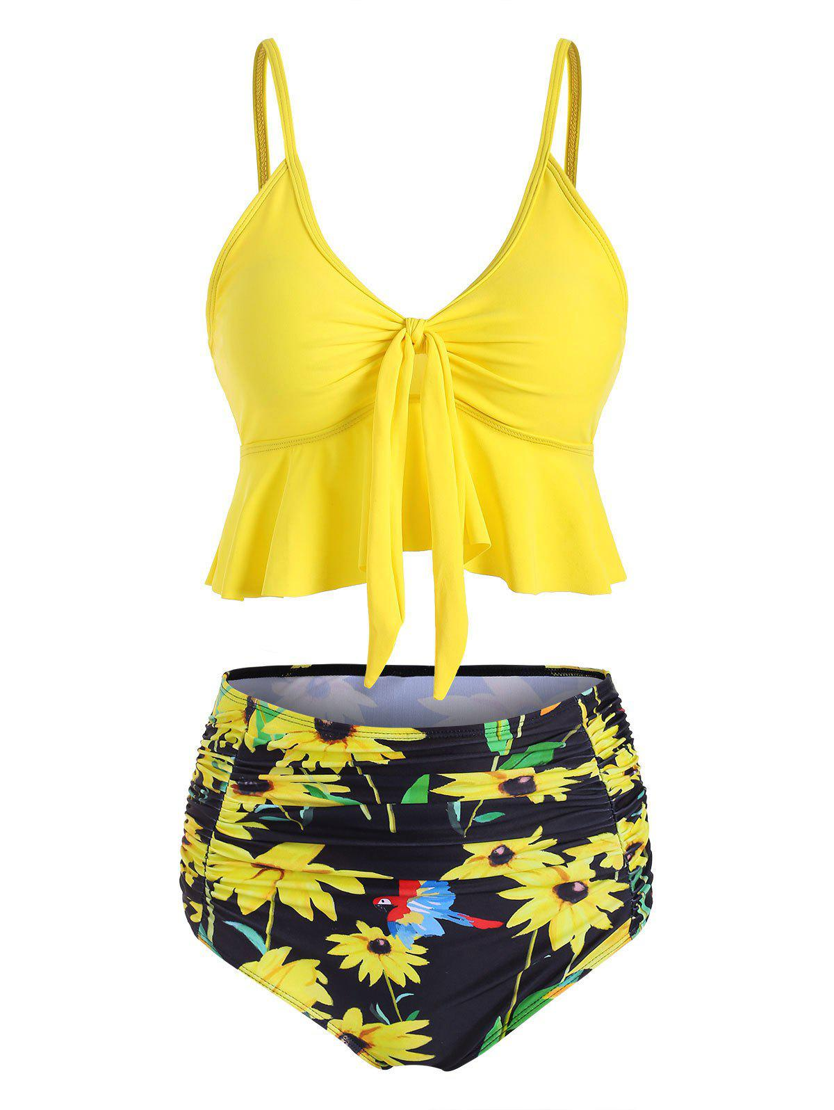 High Waisted Ruched Sunflower Tie Front Tankini Swimsuit - YELLOW S