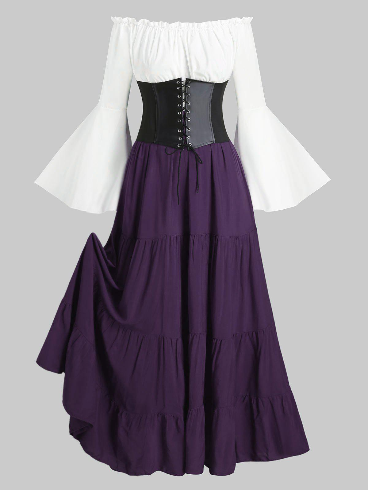 Lace-up Corset Belt Vintage Renaissance Medieval Dress - PURPLE IRIS 3XL