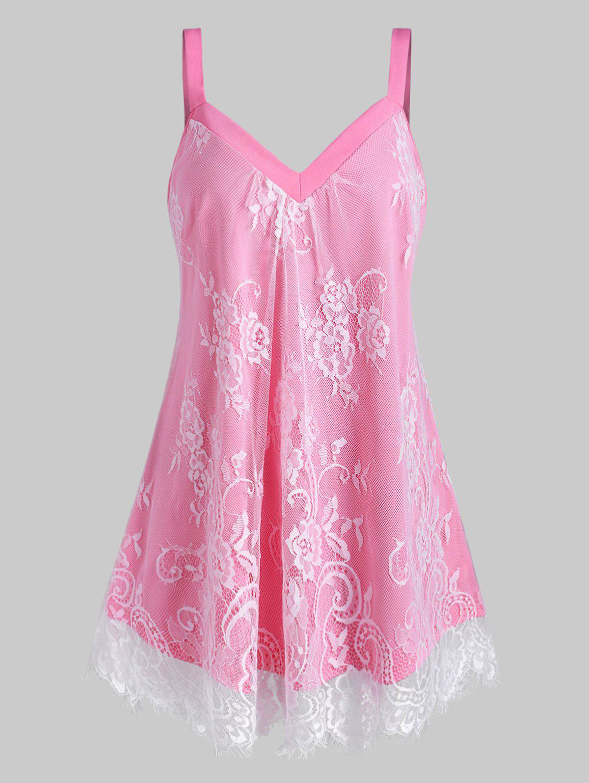 Plus Size Sweetheart Neck Floral Lace Overlay Tank Top - PINK 1X