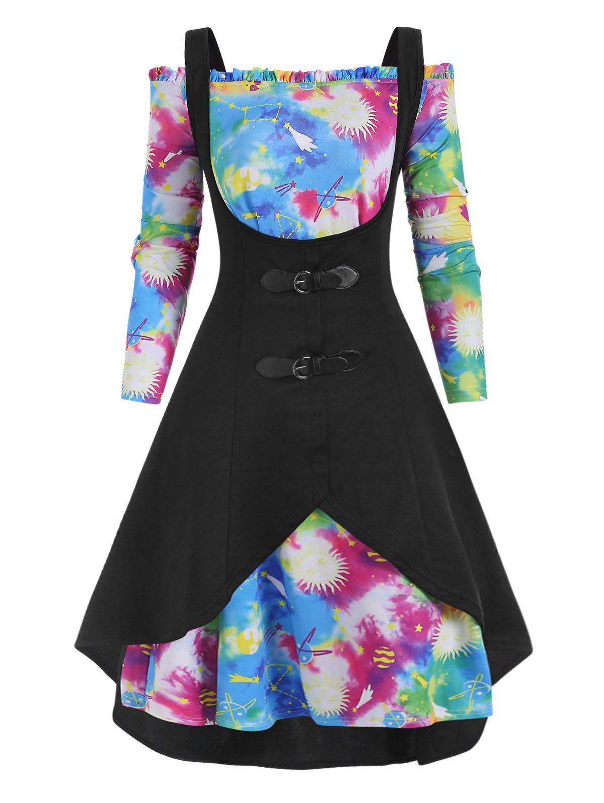 High Low Tank Top and Galaxy Tie Dye Off Shoulder Plus Size Dress - BLACK 3X