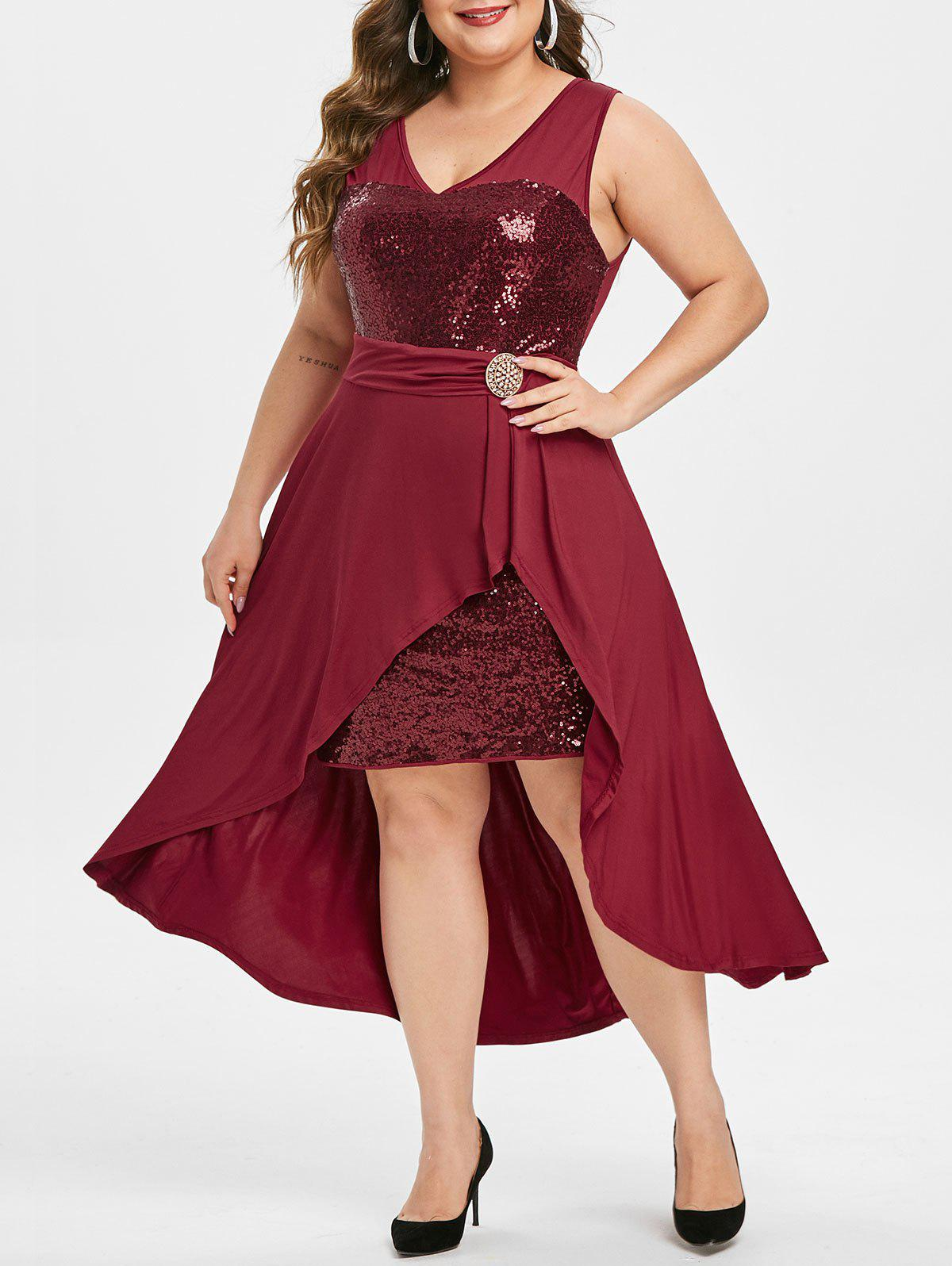 Plus Size Sequin High Low Party Dress - RED WINE 1X