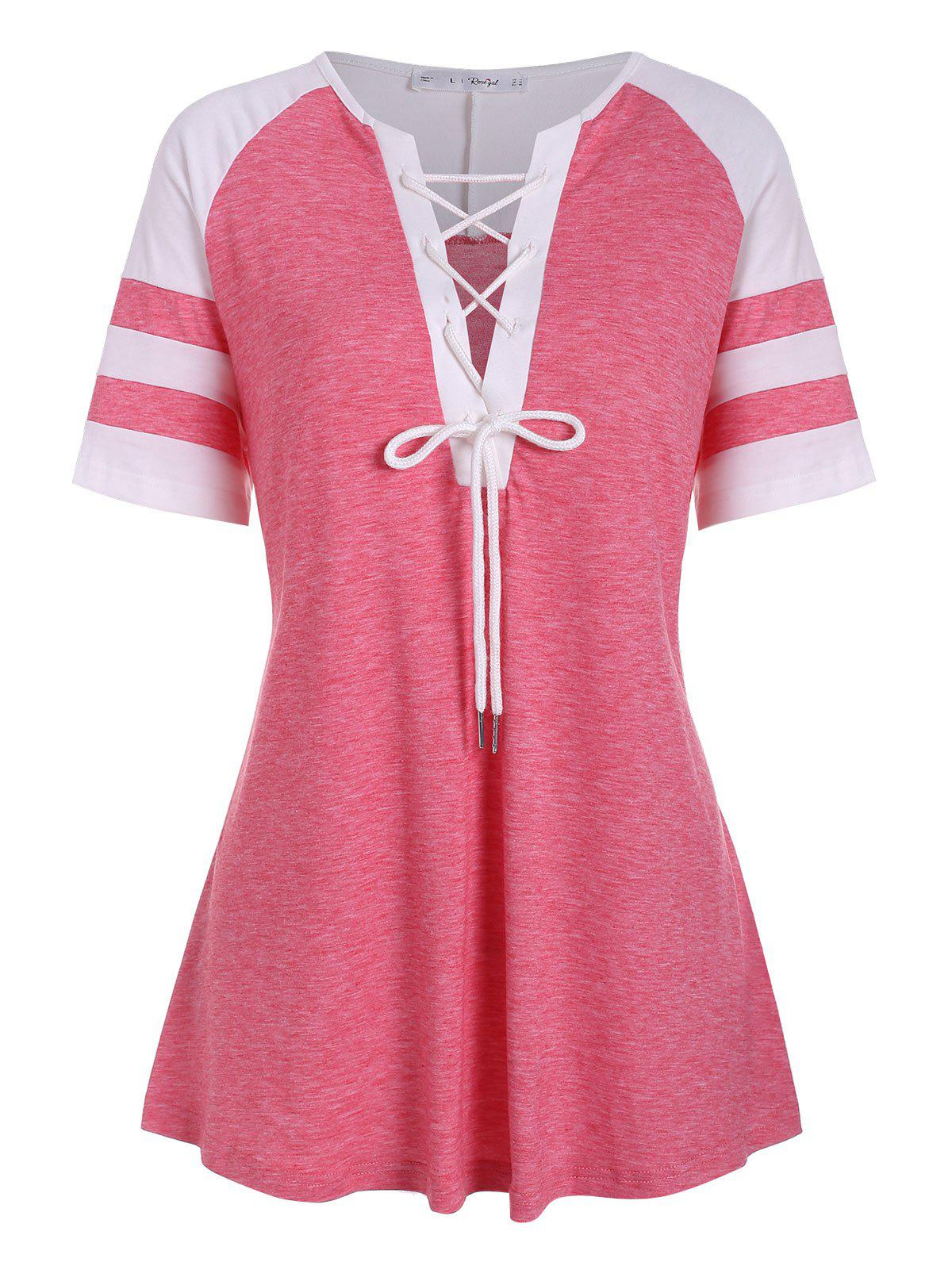 Lace Up Colorblock Stripes Panel Plus Size Top - BLUSH RED 2X