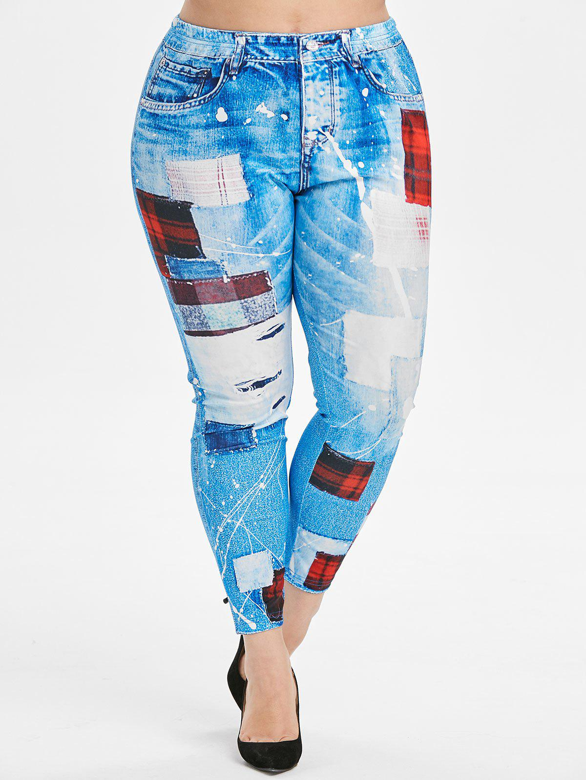 3D Plaid Panel High Waisted Pull On Plus Size Jeggings - DENIM BLUE 5X