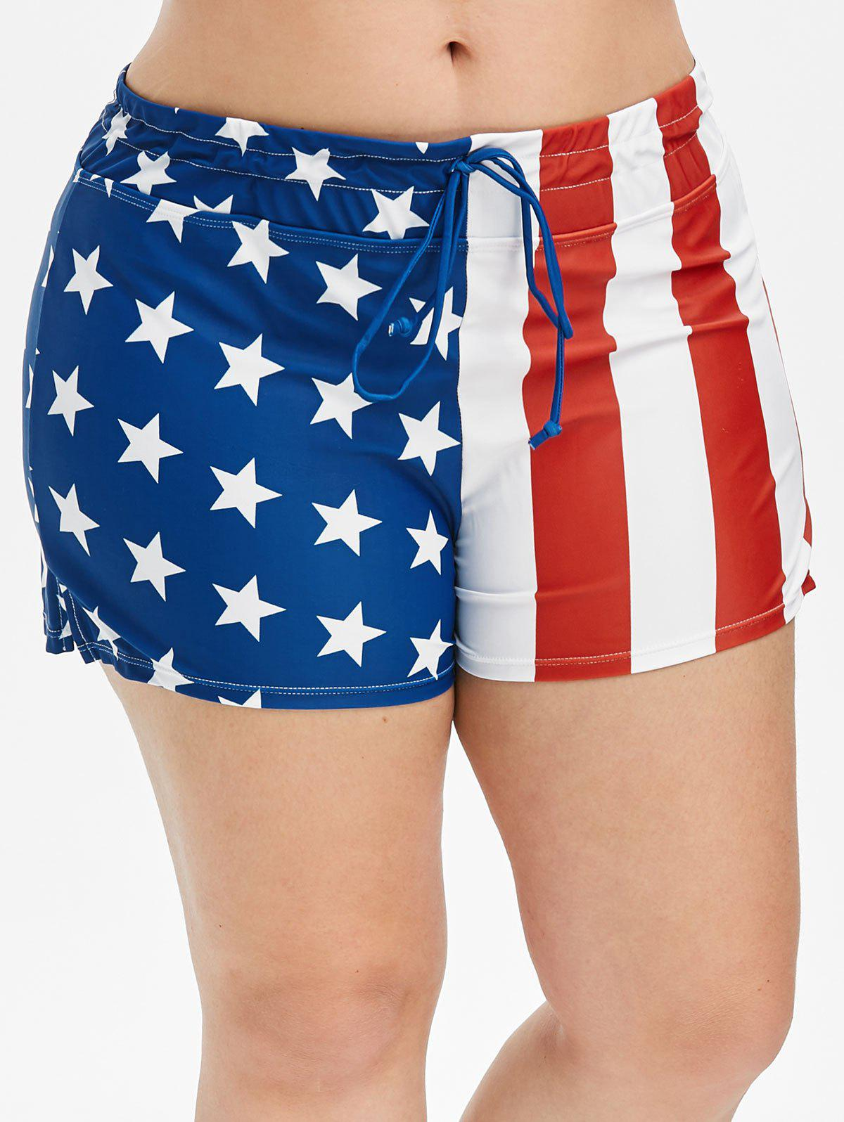 Star and Striped American Flag Plus Size Swim Shorts - OCEAN BLUE 1X