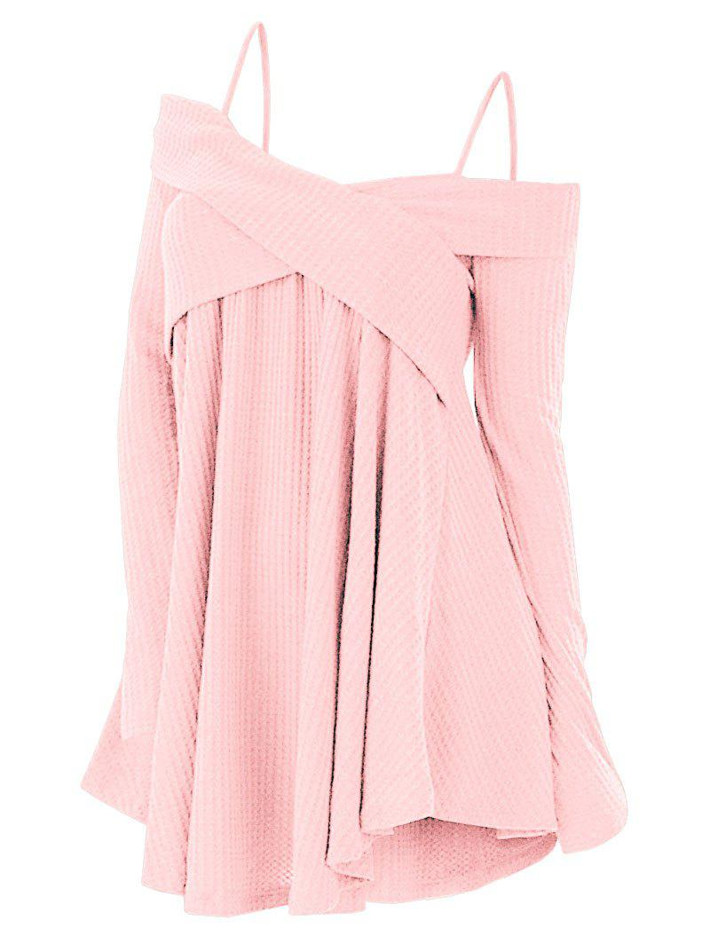 Plus Size Cold Shoulder Criss Cross Cami Knitwear - PINK 2X