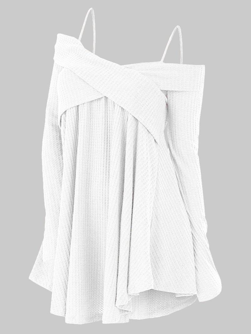 Plus Size Cold Shoulder Criss Cross Cami Knitwear - WHITE 2X