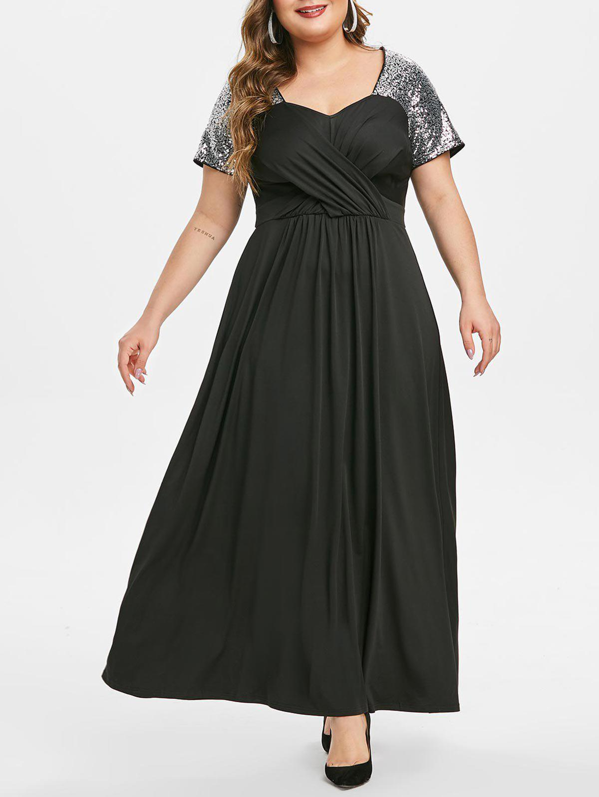 Plus Size Sequin Crossover Maxi Party Dress - BLACK 3X