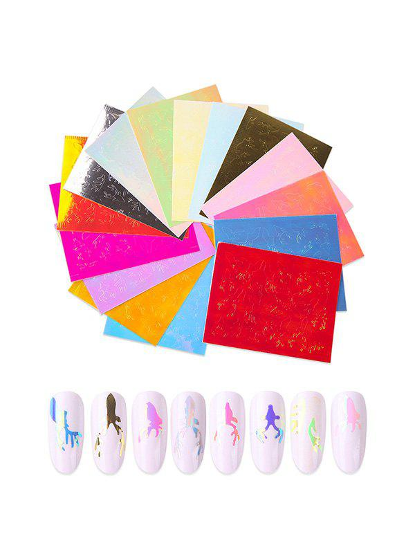 Elk Pattern Laser Magic Nail Stickers - multicolor A