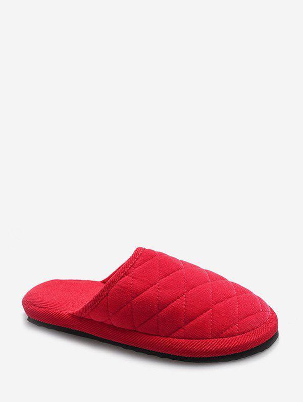 Plain Closed Toe Quilted Indoor Shoes - WATERMELON PINK EU 35