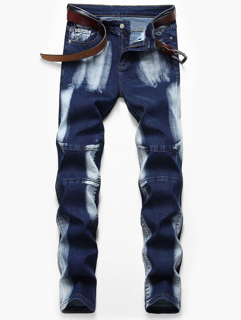 Casual Style Zip Fly Faded Jeans - DEEP BLUE 36