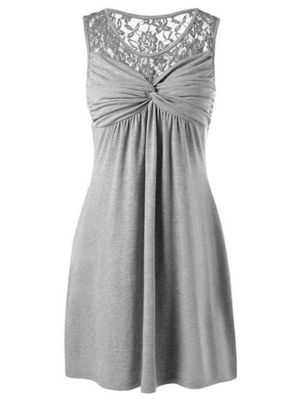 Twist Front Lace Yoke Dress - GRAY M