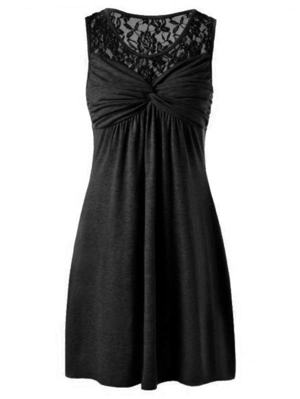 Twist Front Lace Yoke Dress - BLACK XL