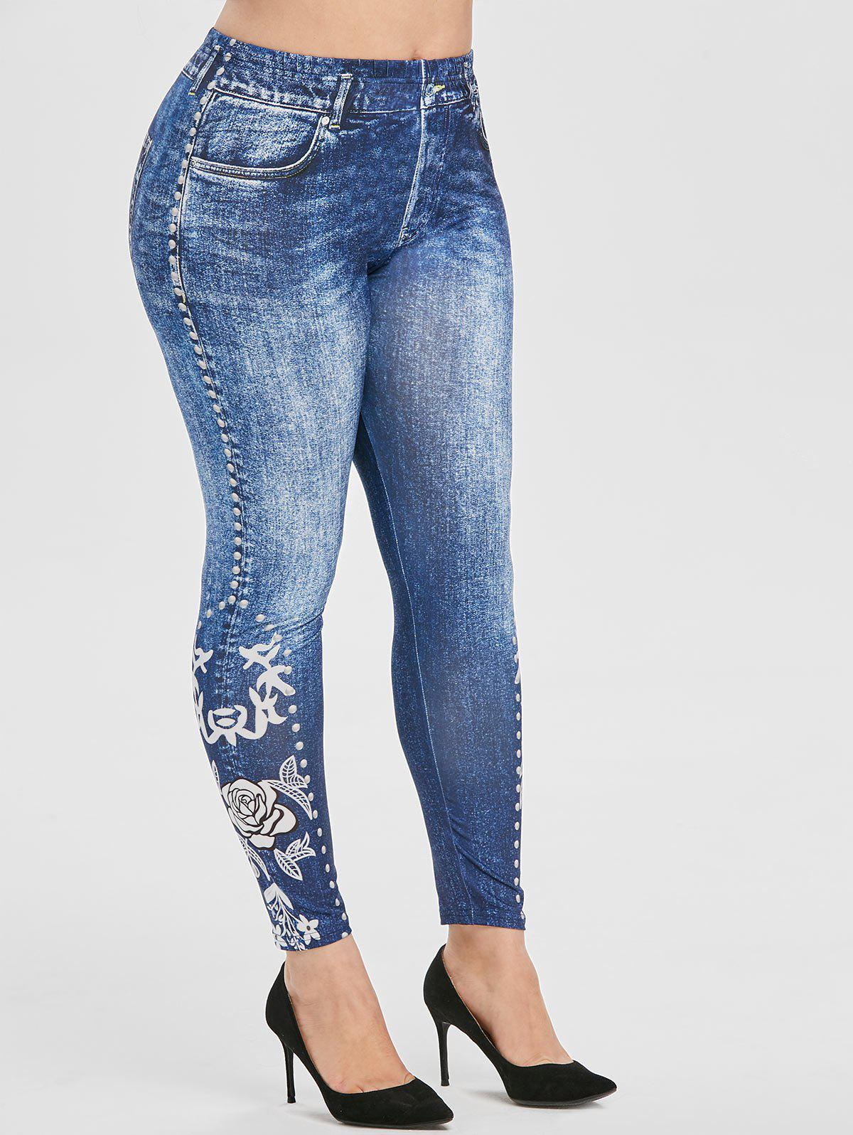 Plus Size Floral Print High Rise Skinny Jeggings - DENIM DARK BLUE 2X