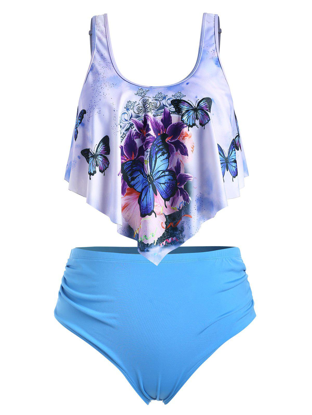 Plus Size Butterfly Print High Waist Tankini Swimsuit - CRYSTAL BLUE 3X