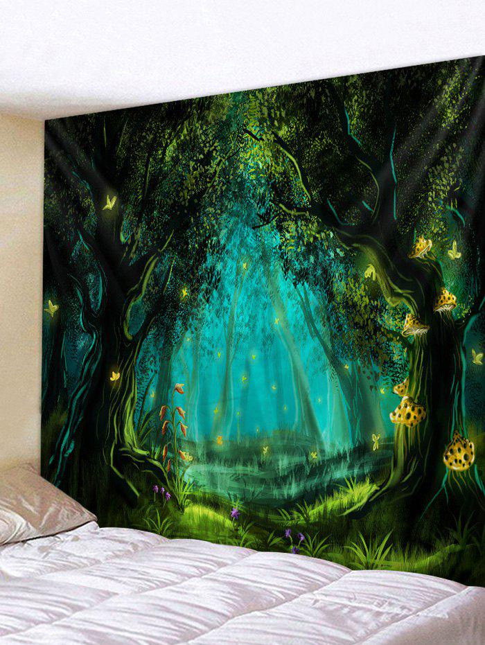 Forest Night Butterflies Print Tapestry Wall Hanging Art Decoration - DARK TURQUOISE W59 X L79 INCH