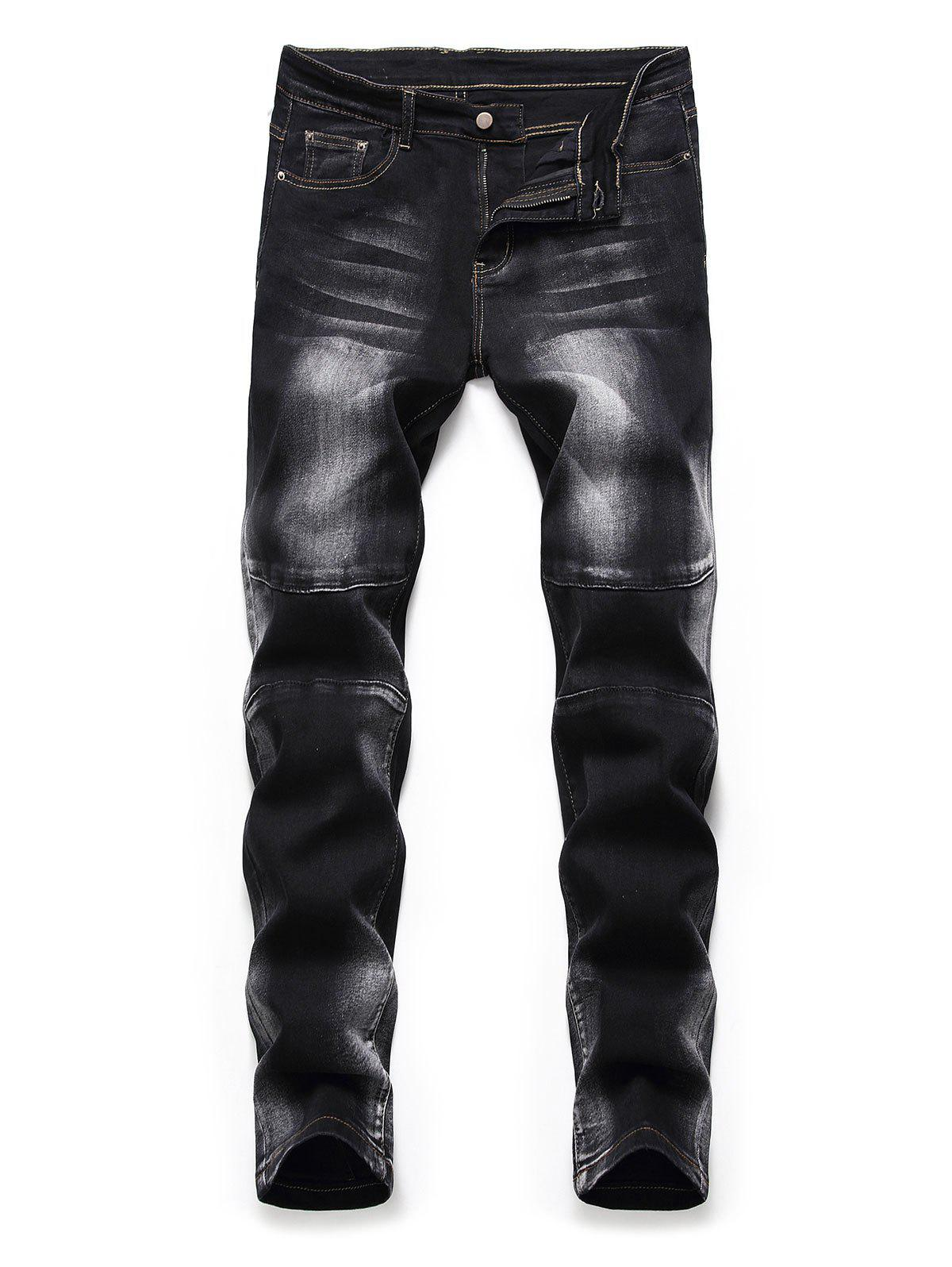 Casual Printed Zipper Fly Jeans - BLACK 36