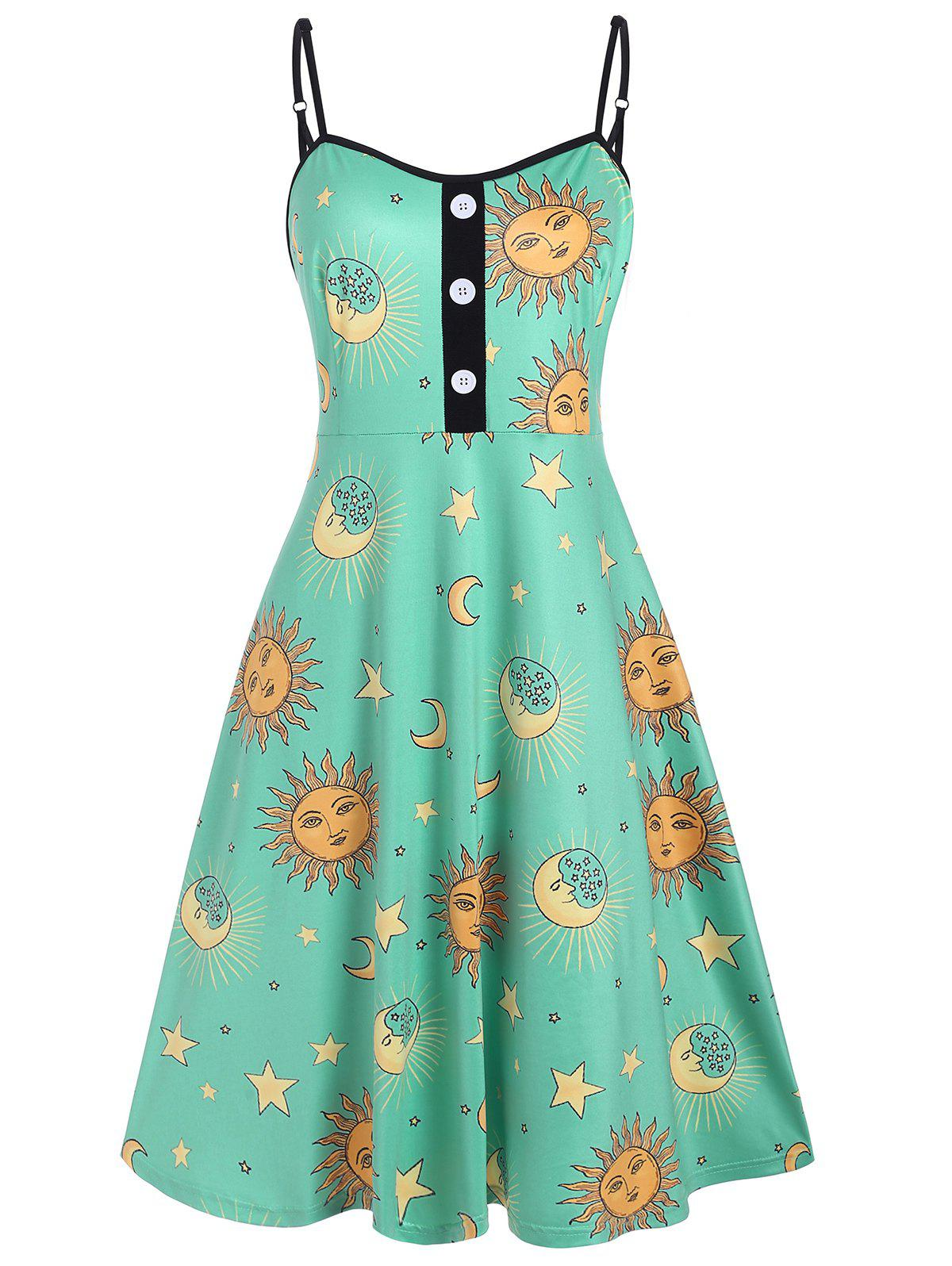 Star Sun And Moon Mock Buttons Plus Size Cami Dress - GREEN 2X