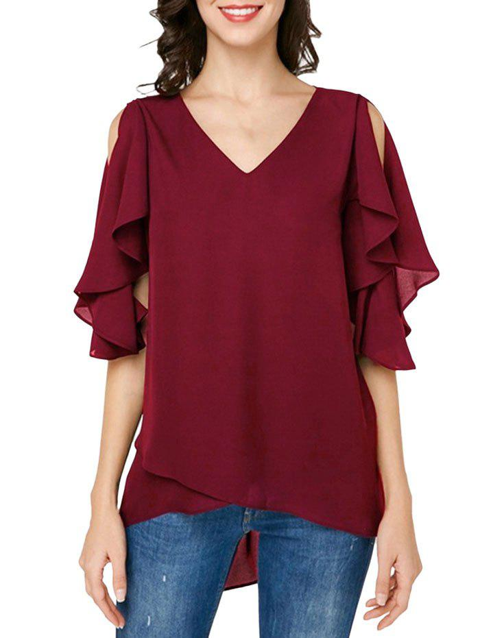 Cutout Butterfly Sleeve Asymmetrical Chiffon Blouse - RED WINE M