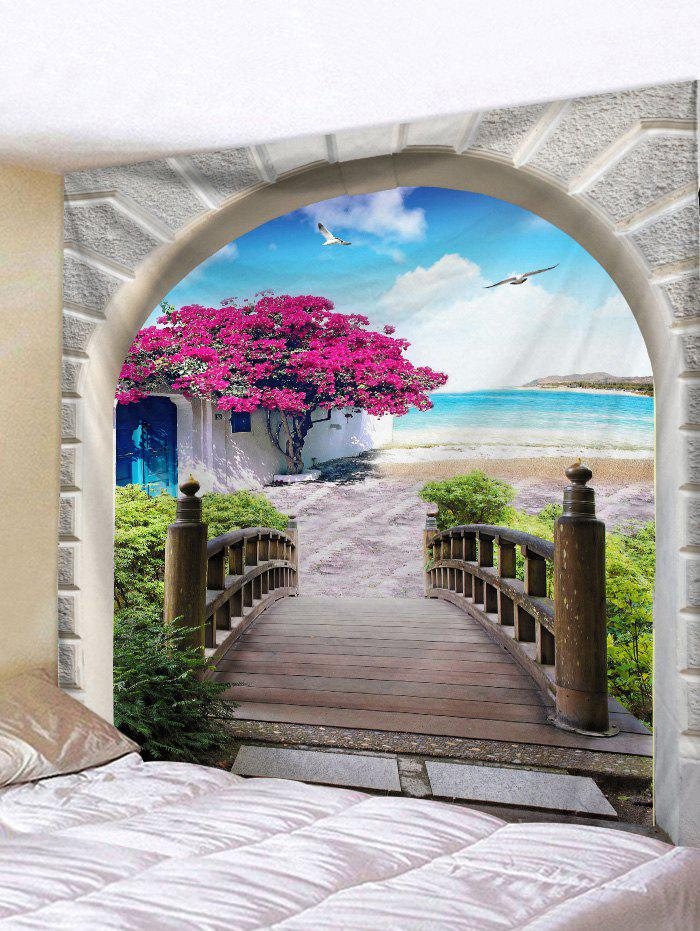 Seaside Flower Tree Arch Print Tapestry Wall Hanging Art Decoration - LIGHT SKY BLUE W71 X L91 INCH